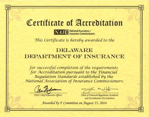 Copy of the 2014 NAIC Accreditation Certificate
