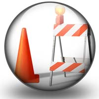 picture of safety cones and barriers in a circle